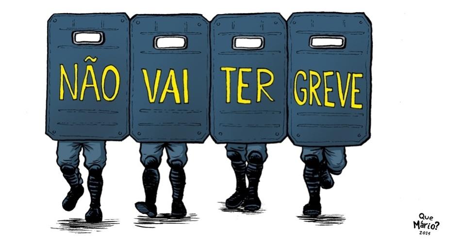 11.jun.2014 - O chargista Que Mário? retrata a possível greve dos metroviários em São Paulo no dia do início da Copa do Mundo 2014