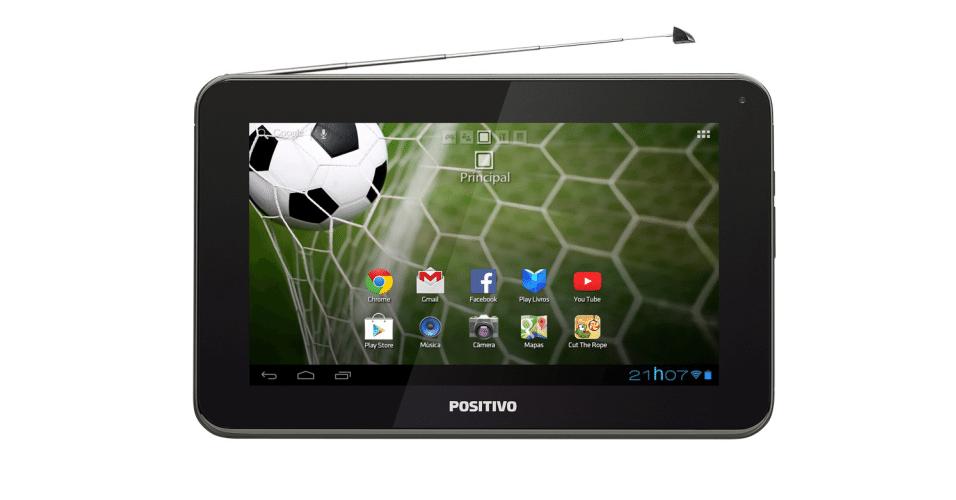 O tablet Positivo T701 TV vem com TV digital, processador dual-core, sistema operacional Android Jelly Bean 4.2, tela de 7 polegadas e 8 GB de armazenamento. O gadget possui ainda um recurso chamado Positivo Verde e Amarelo, que traz tabela de jogos, notícias e curiosidades sobre eventos esportivos. Preço sugerido R$ 399