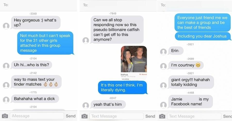 13.jun.2014 - O site ''Elite Daily'' publicou as imagens de uma suposta troca constrangedora de mensagens via celular. Um usuário do Tinder teria enviado o mesmo texto para 32 garotas que conheceu neste aplicativo de encontro (''oi, linda. E aí?'', diz o texto, em tradução livre). Mas as conversas não eram individuais e sim em grupo - assim, todas as destinatárias podiam ver as respostas e até conversar entre elas. O registro dos textos mostra que as mulheres se divertiram e até conseguiram identificar no Tinder o responsável por criar o grupo (acidentalmente, acredita-se)