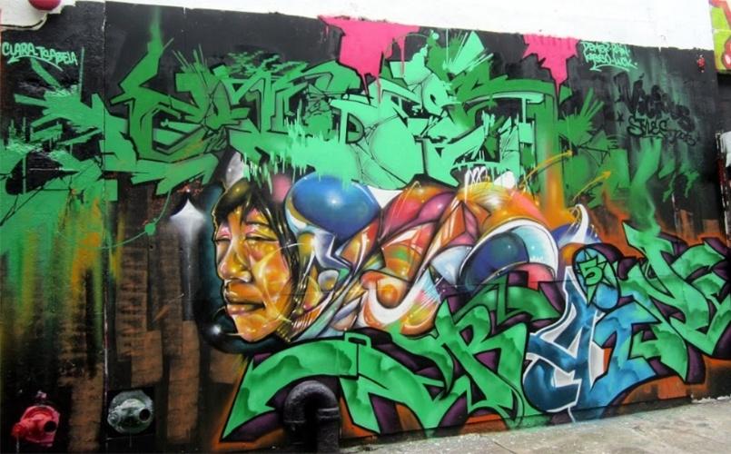 Grafite feito em conjunto pelos artistas Demer, Rain e Kasso no 5 Pointz, região de Nova York (Estados Unidos) conhecida por ser uma galeria de arte de rua a céu aberto