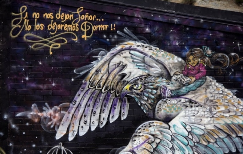 Grafite feito pela artista Seta no museu a céu aberto de La Pincoya, em Santiago (Chile)