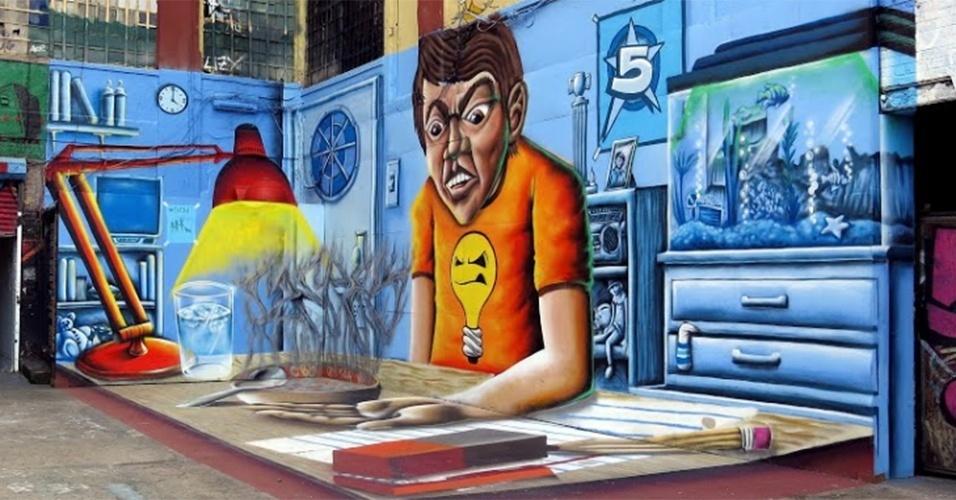 Grafite feito pelo artista Jonathan Meres no 5 Pointz, região de Nova York (Estados Unidos) conhecida por ser uma galeria de arte de rua a céu aberto