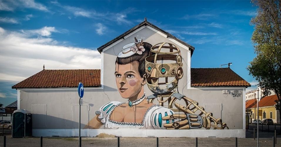 Grafite feito pelo artista Pixelpancho no jardim do Tabaco, em Lisboa (Portugal)