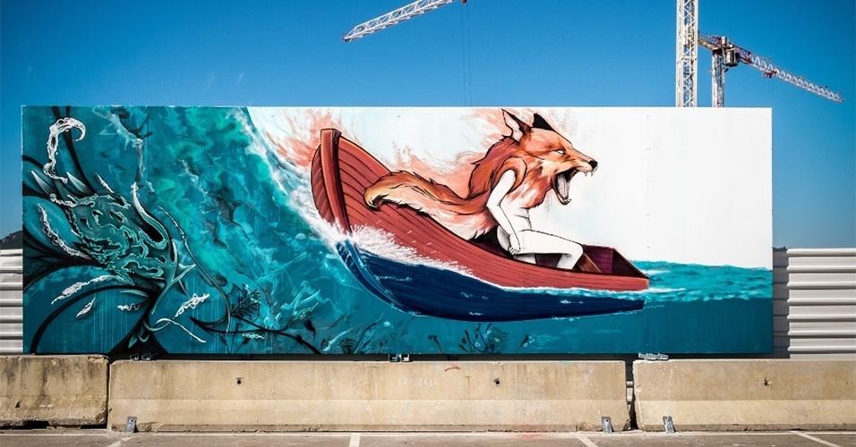Grafite feito pelos artistas Klit, Mosaik e Tamara Alves na cidade de Setúbal (Portugal)