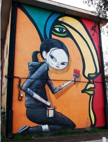 """Obra chamada """"Integración"""" (Integração) feita pelo artista Alejandro """"Mono"""" González e Seth no museu a céu aberto em San Miguel, em Santiago (Chile)"""