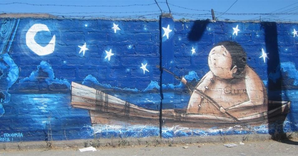 Obra com título desconhecido é exposta no museu a céu aberto em San Miguel, em Santiago (Chile)