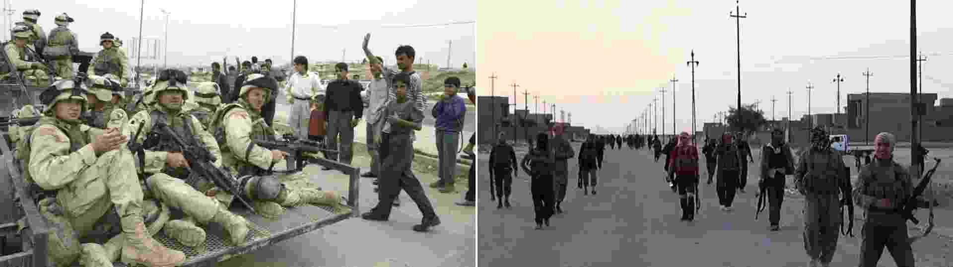 14.jun.2014 - Montagem mostra as semelhanças entre a invasão norte-americana à cidade de Mossul, no Iraque, em abril de 2003 (à esquerda), e a ocupação da cidade em junho de 2014 por forças rebeldes (à direita). O Iraque vive uma das piores ondas de violência desde a invasão americana ao país, em 2003. Tropas rebeldes avançam pelo país e se aproximam de Bagdá 11 anos depois de o país ter sido ocupado pelos Estados Unidos - Joseph Barrack, Ho, e Welayat Salauddin/AFP
