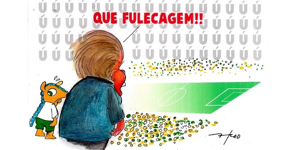 16.jun.2014 - O chargista Fred retrata o momento em que a presidente Dilma Rousseff foi vaiada e xingada durante a abertura da Copa do Mundo na Arena Corinthians, em São Paulo
