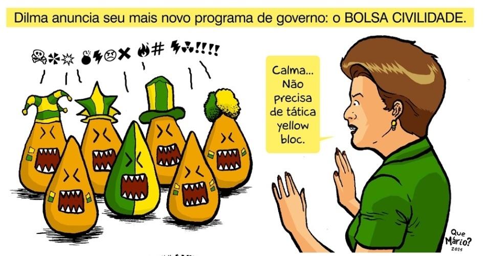 """17.jun.2014 - Em charge do Que Mário?, Dilma Rousseff é xingada e sugere implantar o """"Bolsa Civilidade"""""""