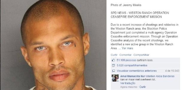 Esta foi a foto postada pela polícia dos EUA no Facebook quando Jeremy foi preso