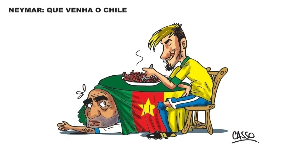 23.jun.2014 - Após a vitória do Brasil por 4 a 0 contra Camarões --com dois gols de Neymar--, o chargista Casso resolveu ilustrar o craque degustando um prato de camarões à espera do Chile