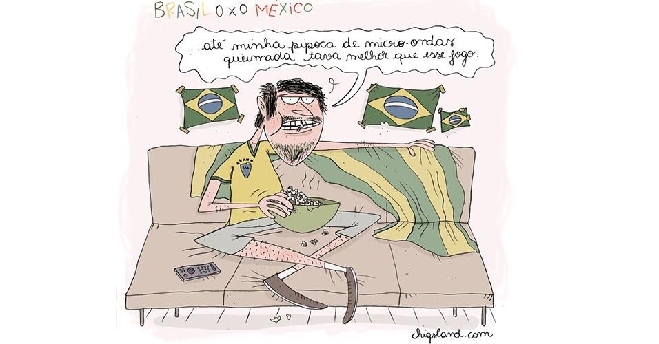 19.jun.2014- A chargista Chiquinha mostra o que muito brasileiro sentiu após a partida do Brasil contra o México