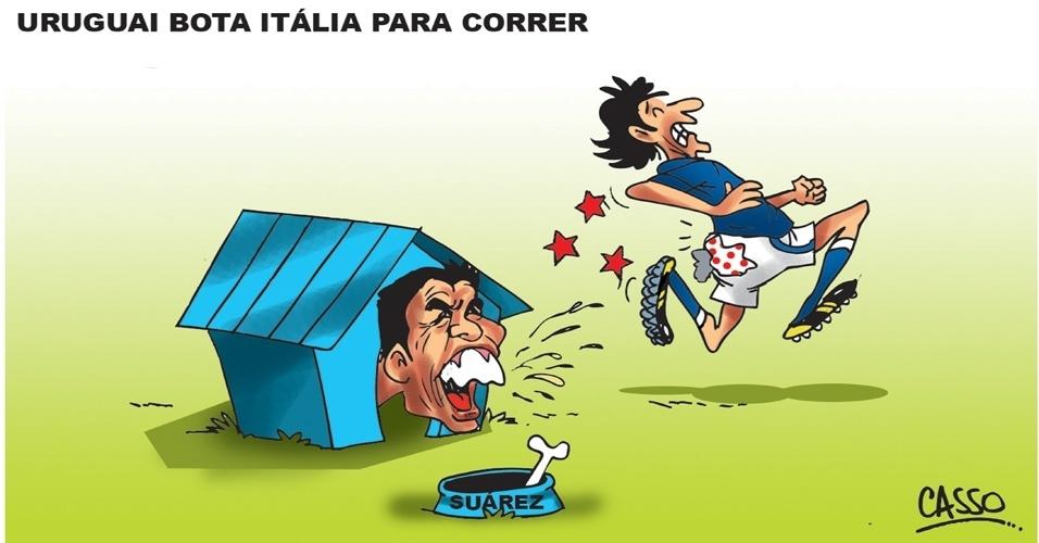 24.jun.2014 - A charge de Casso traz a mordida de Luis Suarez, jogador do Uruguai, em jogador italiano durante a Copa do Mundo