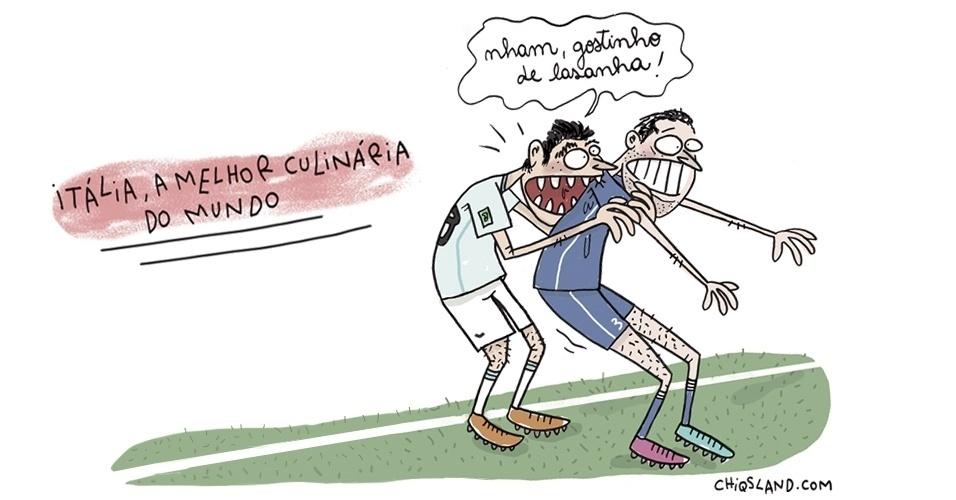 26.jun.2014 - A chargista Chiquinha brinca com a mordida que o uruguaio Luis Suárez deu em um rival no jogo contra a Itália, durante a Copa do Mundo