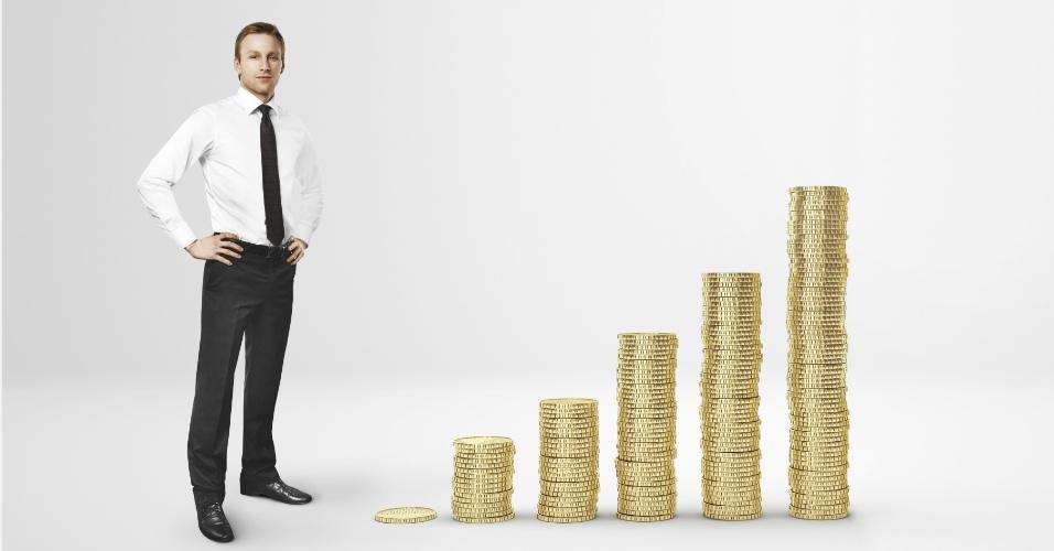 homem, riqueza, moedas, dinheiro, poupança, fortuna, economia, finanças, ícone, economia