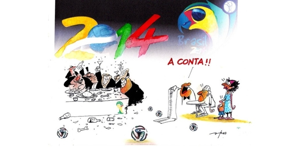 27.jun.2014 - O chargista Fred brinca sobre as despesas da Copa do Mundo realizada no Brasil