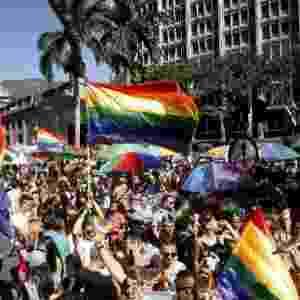 29.jun.2014 - Centenas de pessoas participam da Marcha do Orgulho Gay, neste domingo, na cidade de Medellín, na Colômbia. Várias marchas estão sendo realizadas no mundo pela comunidade LGBT para pedir respeito, tolerância e igualdade - Luis Eduardo Noriega/EFE
