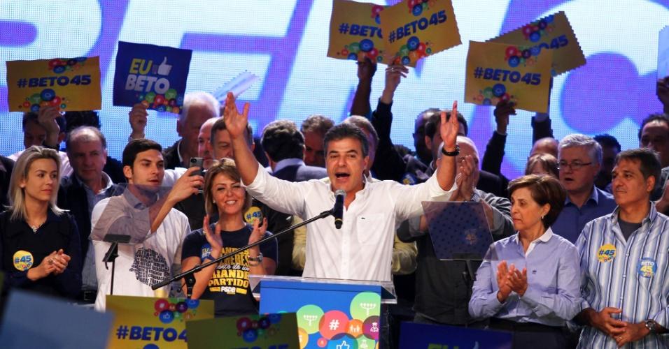 29.jun.2014 - O governador do Paraná, Beto Richa, discursa na convenção estadual do PSDB, em Curitiba, para oficialização da sua candidatura à reeleição