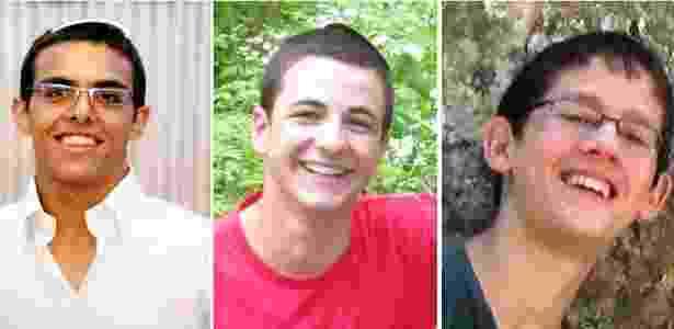 Da esq. à dir.: Eyal Yifrah, 19, Naftali Fraenkel, 16, e Gilad Shaar, 16, que desapareceram em 12 de junho - Montagem/Reuters