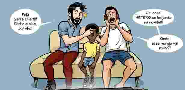 """1º.jul.2014 - O chargista Que Mário? brinca com o beijo gay apresentado na novela """"Em Família"""" (Globo) - Que Mário?/ UOL"""
