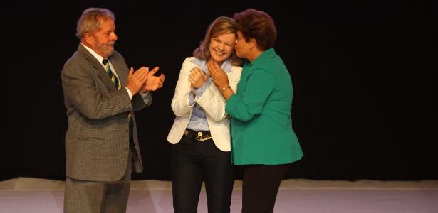 3.jul.2014 - Lula, Dilma e Gleisi durante evento do PT em 2014