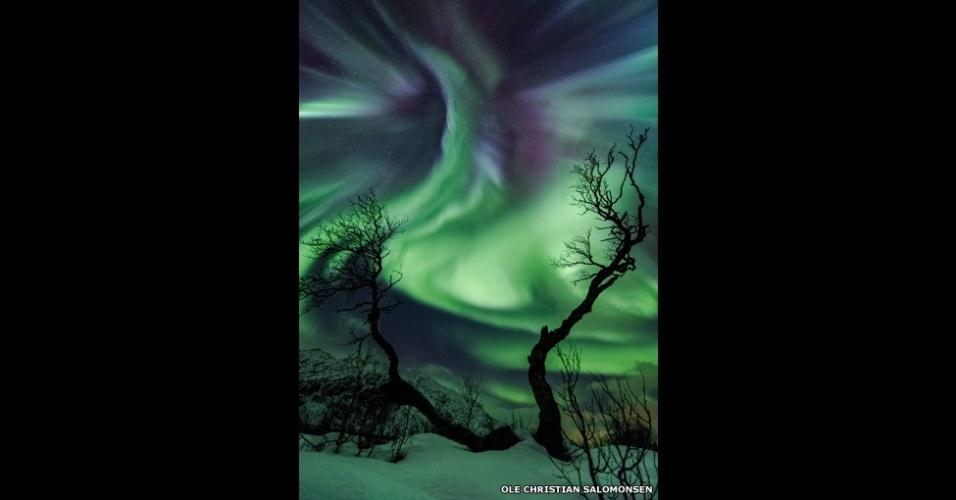 3.jul.2014 - Em 30 de outubro, uma ejeção de massa coronal, espécie de erupção solar, atingiu a Terra, criando luzes multicoloridas vistas da Noruega. 'As árvores parecem braços de uma criatura estranha se estendendo em direção à aurora boreal', interpreta o fotógrafo Ole Christian Salomonsen