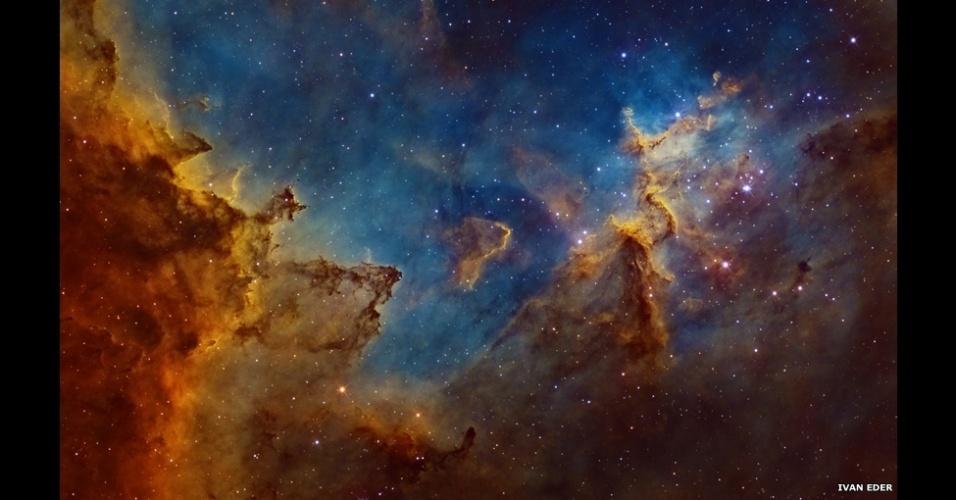 3.jul.2014 - Situada a 7.500 anos-luz da Terra, na constelação Cassiopeia - em forma de W -, fica a nebulosa do Coração, uma vasta região de gás brilhante. A imagem foi feita na Hungria