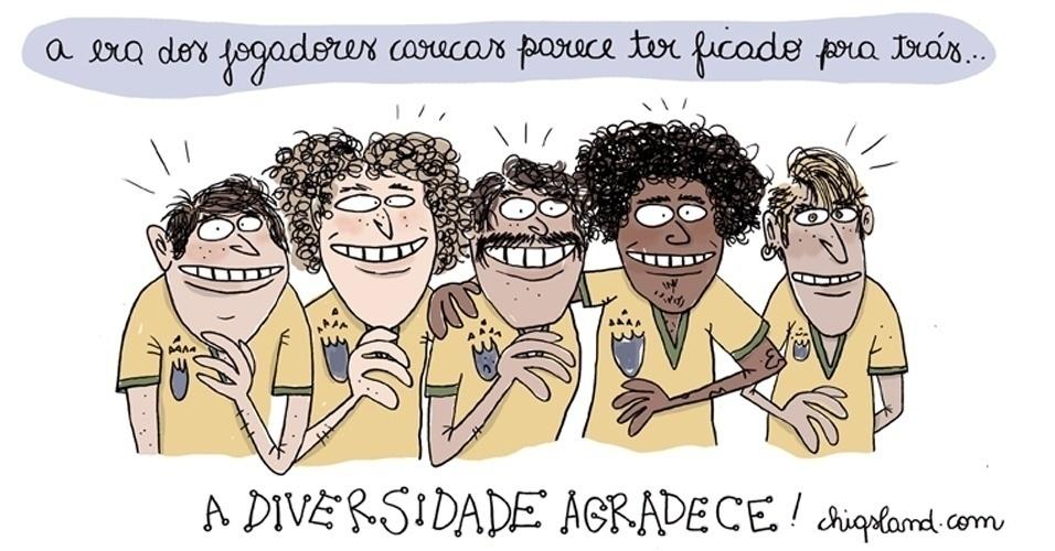7.jul.2014 - A chargista Chiquinha brinca com a quantidade de penteados diferentes dos jogadores da seleção brasileira