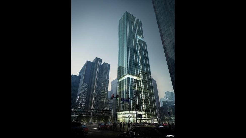 7.jul.2014 - Outro projeto concorrente do escritório Aedas é o Bravo Group Pazhou, em Guanzhou, China, na categoria escritórios