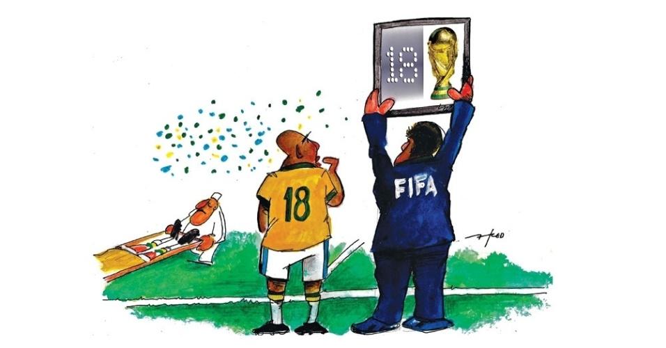 8.jul.2014 - O chargista Fred retrata a saída de Neymar da Copa do Mundo e as chances da seleção brasileira conquistar o hexa