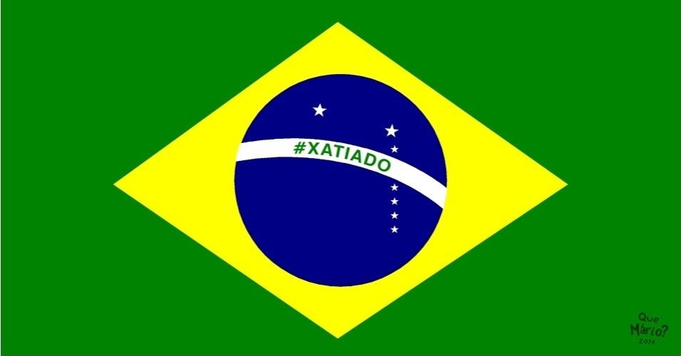 11.jul.2014 - O chargista Que Mário? retrata na bandeira do Brasil o sentimento dos brasileiros