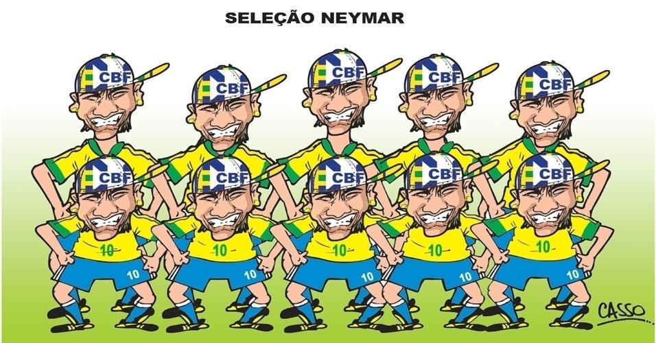 9.jul.2014 - Chargista Casso brinca com a ideia do jogador Neymar ser o único presente na seleção brasileira