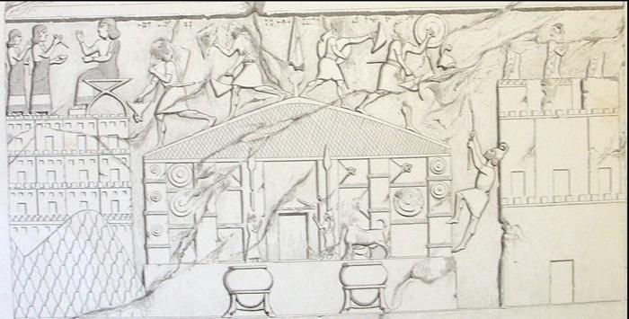 10.jul.2014 - Desenho do século 19, feito com um antigo relevo, que retrata o saque do templo de Haldi pelos assírios também foi descoberto no sítio arqueológico na região do Curdistão, no norte do Iraque