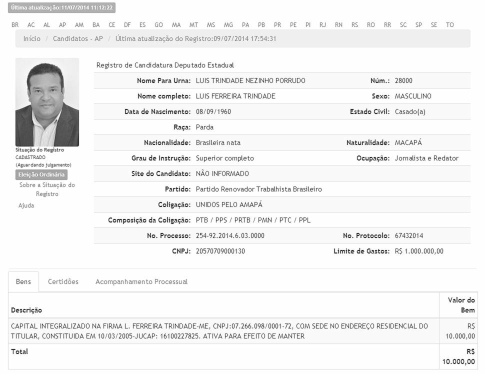 """11.jul.2014 - Luís Ferreira Trindade, o """"Luís Trindade Nezinho Porrudo"""", é candidato a deputado estadual pelo PRTB no Amapá"""