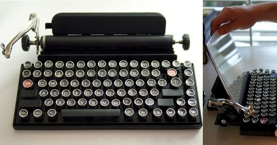 11.jul.2014 - Com visual de máquina de escrever antiga, o Qwerkywriter funciona como um teclado para eletrônicos modernos - seu visual caprichado incluí até uma decorativa alavanca, que era usada para mudar a linha do texto. Compatível com tecnologia Bluetooth, o teclado tem um suporte para tablets e entrada USB para se conectar a computadores. Pesa cerca de 1,4 quilo e a previsão de lançamento é agosto de 2015, por US$ 290 (cerca de R$ 643). Seu criador usou o Kickstarter para arrecadar US$ 90 mil (R$ 200 mil) e conseguiu ultrapassar a meta