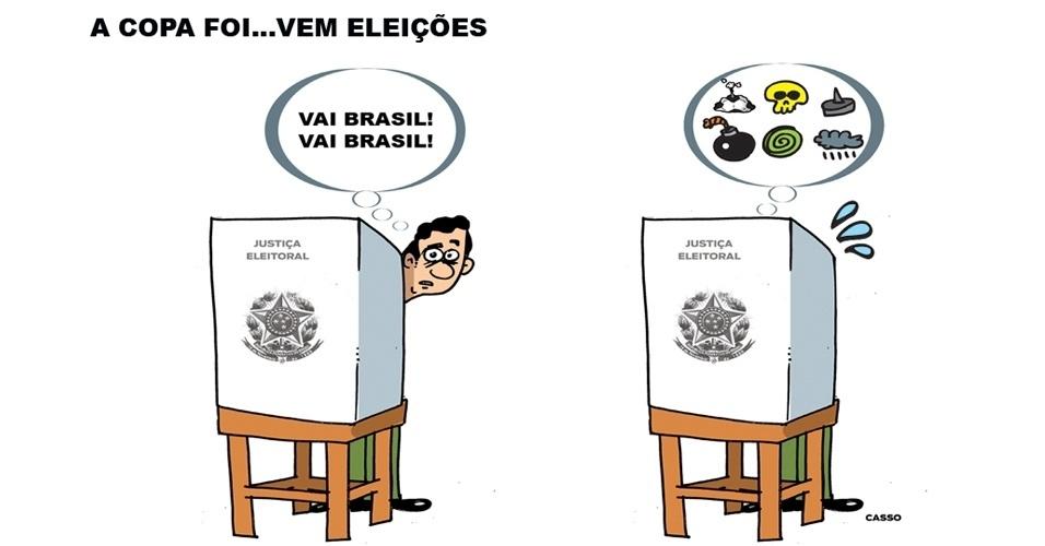 """14.jul.2014 - O chargista Casso brinca com o final da Copa e o início da """"torcida"""" na eleições presidenciais do Brasil"""