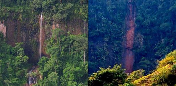 Uma das três cachoeiras da Furna, em São Pedro, ainda com água (à esq.), e hoje (à dir.), quando está praticamente seca - Prefeitura de São Pedro/Divulgação e Eduardo Schiavoni/UOL