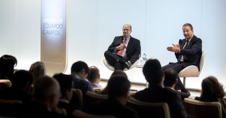 16.jul.2014 - Após palestra em São Paulo, o candidato do PSB à Presidência Eduardo Campos conversou com jornalistas sobre vários assuntos, incluindo reforma tributária. Segundo ele, a reforma deve ser feita de maneira transparente
