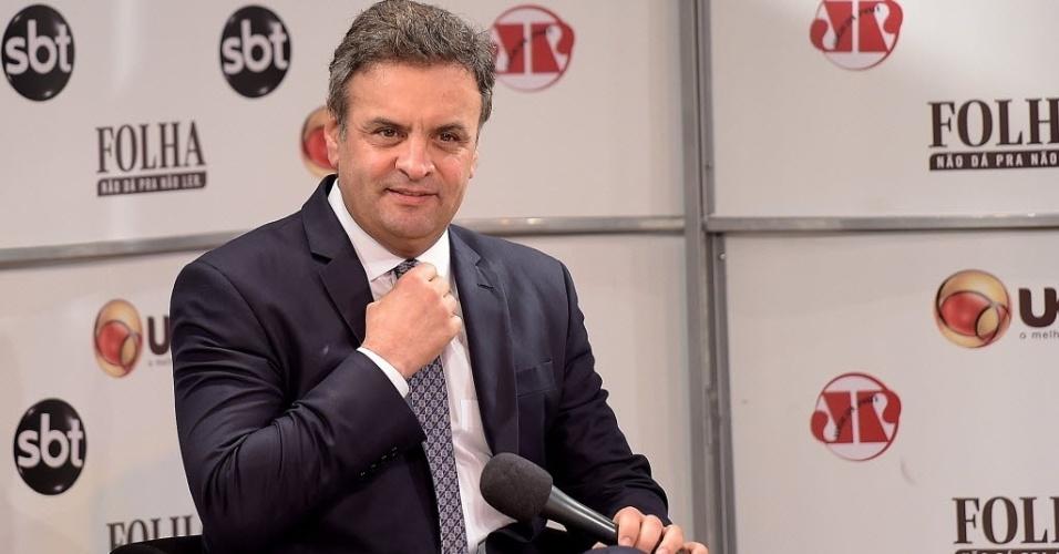 16.jul.2014 - O candidato à Presidência pelo PSDB, senador Aécio Neves (MG), disse nesta quarta-feira (16) que, se eleito, pretende manter os programas sociais do governo do PT, como o Mais Médicos e o Bolsa Família