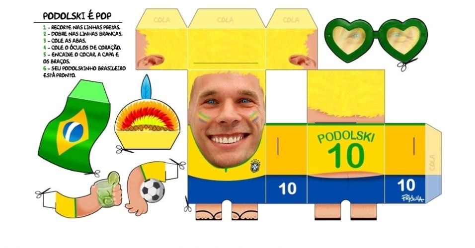 17.jul.2014 - A chargista Pryscila resolveu acabar com o problema de quem está sofrendo de saudades do jogador alemão Podolski, que por sua vez amou o Brasil e também deve estar sofrendo de saudades
