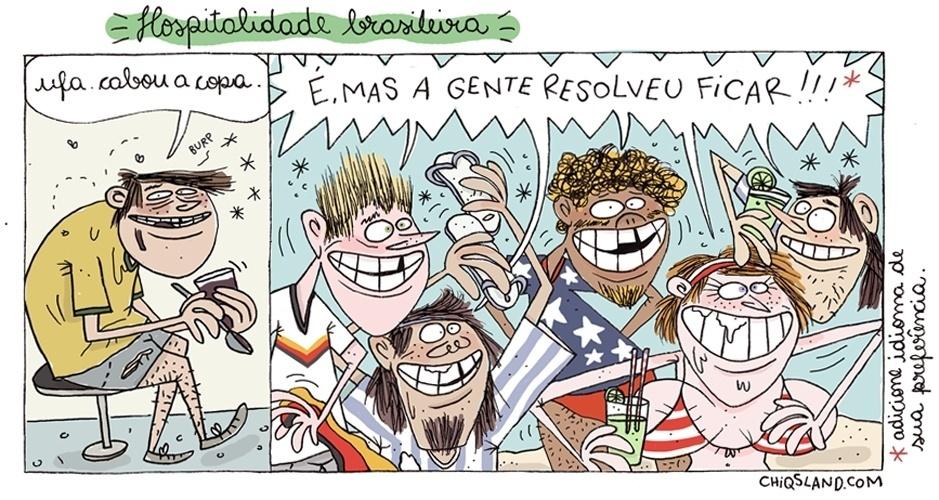 18.jul.2014 - A chargista Chiquinha brinca com o fato de que muitos estrangeiros continuaram no Brasil mesmo depois do fim da Copa do Mundo