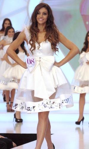20.jul.2014 - Edina Kulcsar desfila durante o Miss Mundo Hungria 2014. A bela ganhou o concurso e vai representar seu país no Miss Mundo, que acontece no fim deste ano