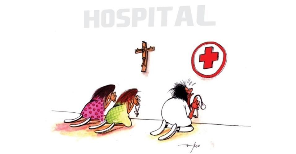 21.jul.2014 - O chargista Fred retrata o desespero dos médicos com a situação da saúde no Brasil