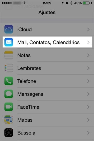 Selecione 'Mail, Contatos, Calendários' (Mail, Contacts, Calendar)