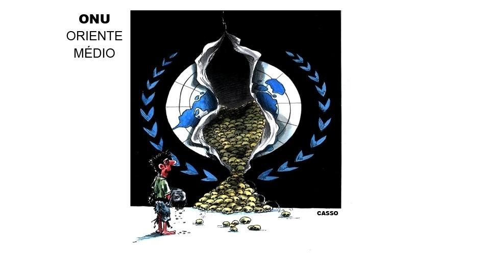24.jul.2014 - O chargista Casso representa a ação da ONU no Oriente Médio