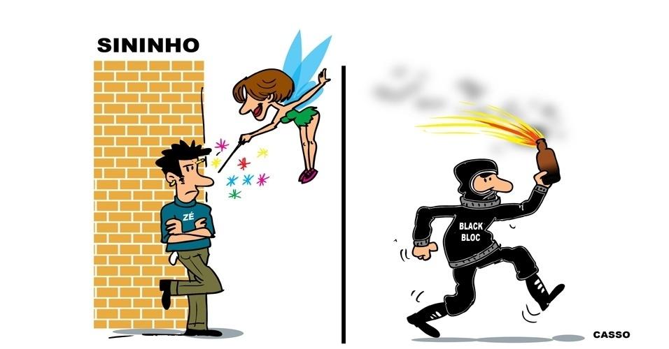 29.jul.2014 - O chargista Casso brinca com os 'poderes' da ativista Elisa Quadros Pinto Sanzi, a Sininho, acusada de atos violentos no Rio de Janeiro durante manifestação em apoio aos professores das redes estadual e municipal em 2013