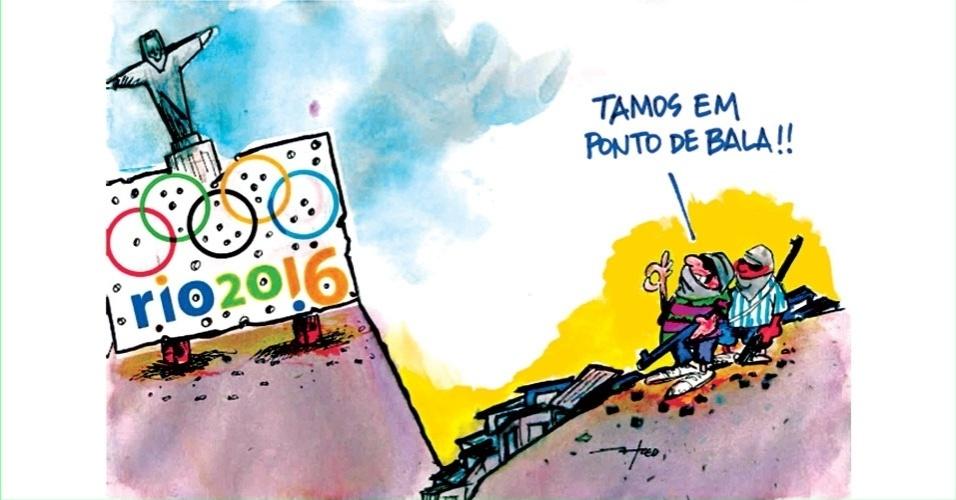 30.jul.2014 - O chargista Fred retrata a violência que atinge o Rio de Janeiro. A cidade sediará as Olimpíadas em 2016