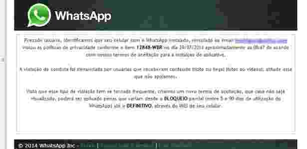 Golpe no WhatsApp anuncia novo termo, mas não oferece acesso ao conteúdo  - Reprodução