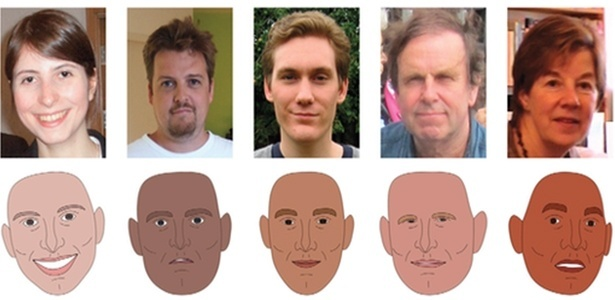 Cinco faces e suas versões ilustradas, incluindo a do autor do estudo, Tom Hartley (o 2º da esq. para a dir.) - Thartley/PNAS