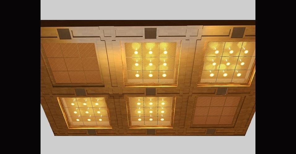 abr.2014 - Imagem do projeto da Arca da Aliança, que foi instalada no Santo dos Santos, a sala mais reservada do Templo de Salomão, construído em uma área de 35 mil m2 na região central de São PauloImagem do projeto das luzes do salão principal do Templo de Salomão, construído em uma área de 35 mil m2 na região central de São Paulo, que usou 10 mil lâmpadas de LED
